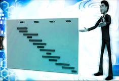 3d man present value graph illustration Stock Photography