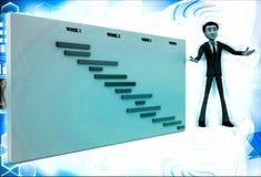 3d man present value graph illustration Stock Photos