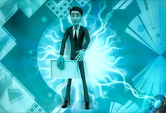 3d man present white empty board illustration Royalty Free Stock Photography