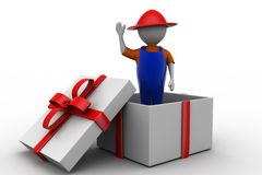 3d man presentation coming out of white gift box Royalty Free Stock Image