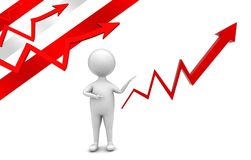 3d man presenting a arrow graph concept. Front angle view Stock Photo