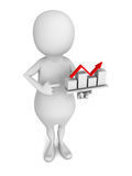 3d man presenting business growth chart graph on white backgroun Royalty Free Stock Photos