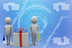 3d man presenting gift box Illustration Stock Images