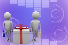 3d man presenting gift box Illustration Royalty Free Stock Photography