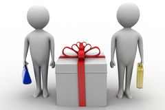 3d man presenting gift box Royalty Free Stock Photography