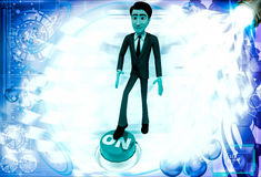 3d man press on button illustration Royalty Free Stock Image