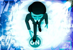 3d man press on button illustration Royalty Free Stock Photography