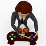 3d man press button of video game remote control concept Stock Photos