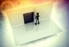 3d man pressing door bell illustration Royalty Free Stock Image