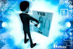 3d man pressing yes no button illustration Royalty Free Stock Photo