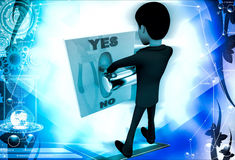 3d man pressing yes no button illustration Stock Image