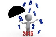 3d man previous year rain with 2015 umbrella concept Royalty Free Stock Photos