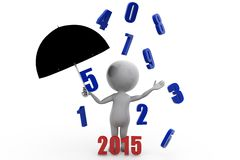 3d man previous year rain with 2015 umbrella concept Stock Images
