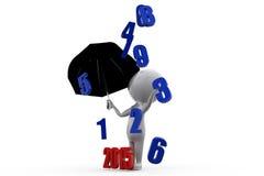 3d man previous year rain with 2015 umbrella concept Stock Photos