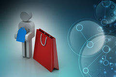 3d man with price tag and shopping bag. In color background Royalty Free Stock Photography