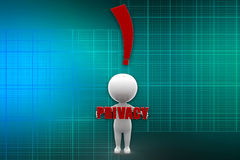 3D man privacy illustration Royalty Free Stock Photo