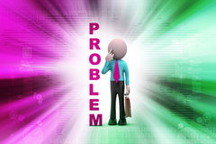 3d man with problem. In color background Stock Photos