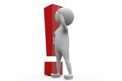 3d man problem with exclamation concept Royalty Free Stock Photo