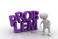 3d man problem text with chain concept Stock Photos
