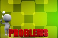 3d man with problems illustration Stock Photo