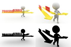 3d man process service concept collections with alpha and shadow channel Royalty Free Stock Photo