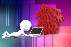3d Man Productivity Efficiency Streamline Responsive Illustration Stock Image