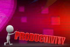 3d man with productivity illustration Royalty Free Stock Photography