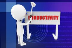 3d man productivity illustration Royalty Free Stock Image