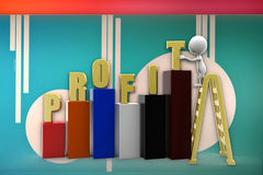 3d man profit graph illustration Royalty Free Stock Image