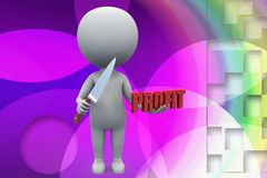 3d man profit illustration Royalty Free Stock Images