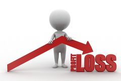 3d man profit loss Stock Photography
