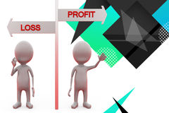 3d man profit loss illustration Royalty Free Stock Photography