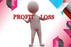 3d man profit loss  illustration Royalty Free Stock Photo