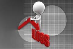 3d man profit loss illustration Stock Photos