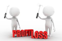 3d man profit loss illustration Stock Photos