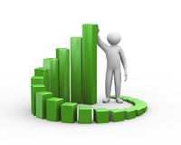 3d man and progress growth business chart. 3d render man standing with circular business growth progress bars. 3d human person character and white people Stock Photo