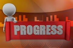 3D man progress illustration Royalty Free Stock Image