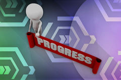 3D man progress illustration Stock Image