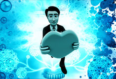 3d man proposing with heart illustration Stock Photo