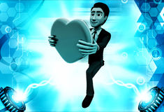 3d man proposing with heart illustration Royalty Free Stock Image