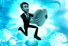 3d man proposing with heart illustration Stock Photography