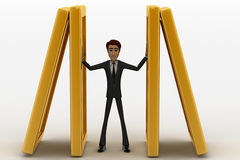 3d man psuhing golden walls to save own life concept Royalty Free Stock Images