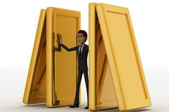 3d man psuhing golden walls to save own life concept Royalty Free Stock Photography