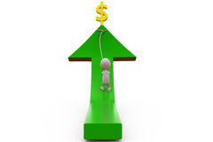 3d man pull arrow of dollar concept Stock Photo