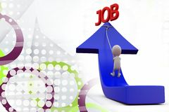 3d man pull arrow of job illustration Royalty Free Stock Photo
