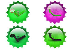 3d man pull arrow with magnifying glass icon Stock Photography