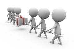 3d man pull gift concept Royalty Free Stock Images