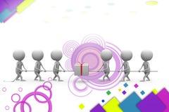 3d man pull gift illustration Royalty Free Stock Photo