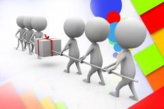 3d man pull gift illustration Stock Images