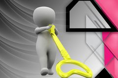3d man pull key illustration Royalty Free Stock Image